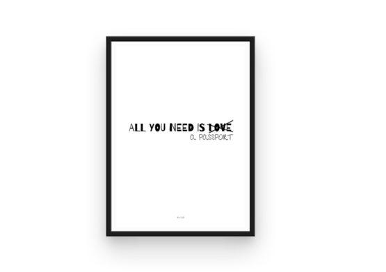 Lamina All you need is love all you need is a passport diseño de pico centro de psicologia rosa pico